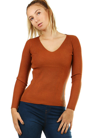 Nice women's sweater with long sleeves. monochrome knitwear medium length without closing V-shaped