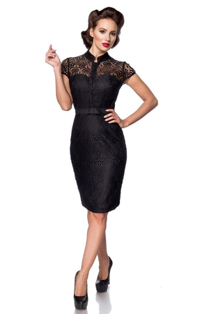 Women's lace sleeveless formal dress in popular retro style. luxury look retro style stand-up collar buttoning at the neck