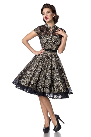 Vintage women's lace formal dress in a popular retro style with a wheeled skirt. luxury look retro style double-layered