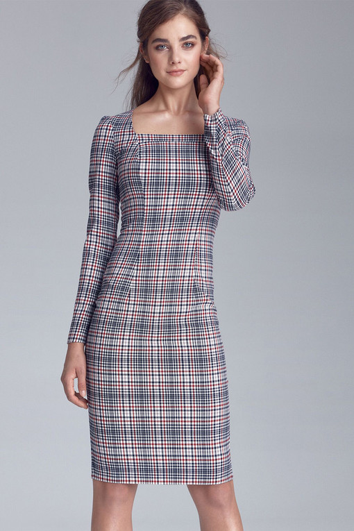 Sleeveless plaid dress with long sleeves