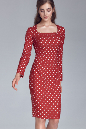 Women's formal dress to the knees with an ageless polka dot pattern and long sleeves. Elegant and fashionable retro look case