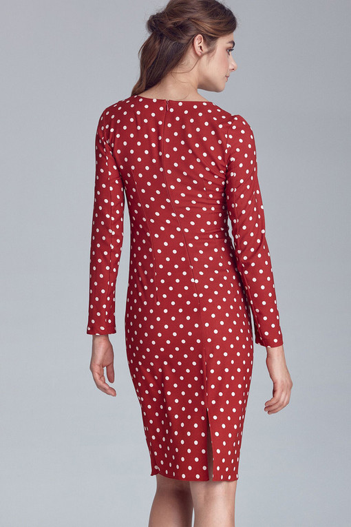 Polka dot sleeveless dress with long sleeves