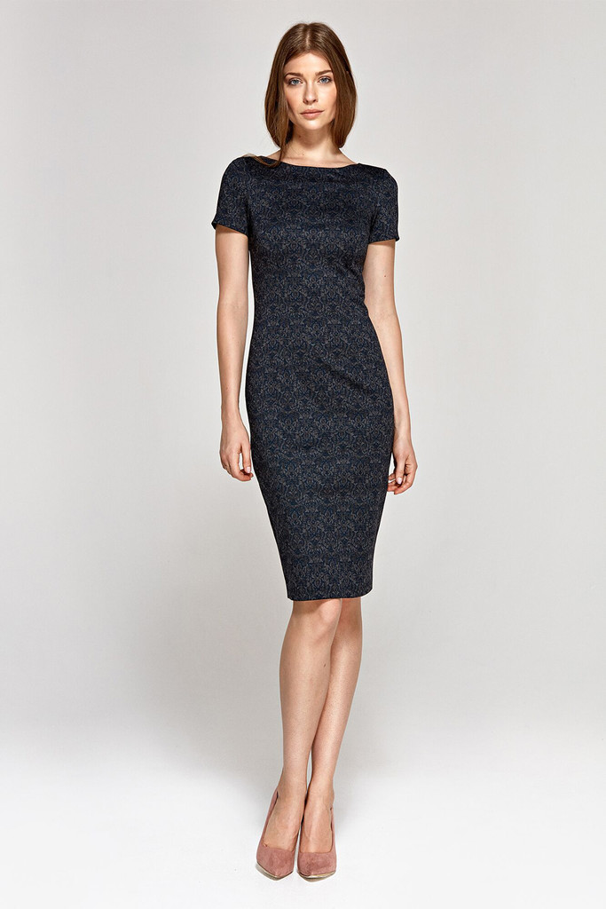 Evening sleeve dress with short sleeves