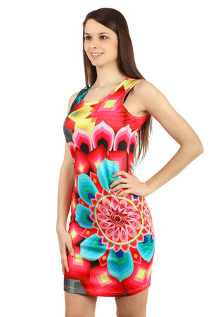 Modern colorful dress. Wide straps. Zip fastening at the back. Material: 95% polyester, 5% spandex