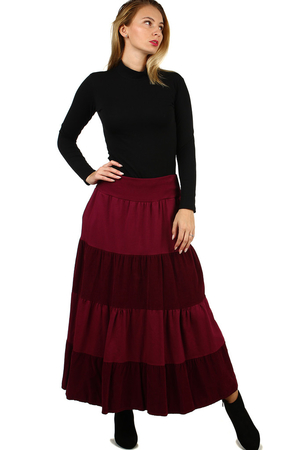 Women's ruffle casual skirt for cooler days comfortable cut maxi délka a wider waist of finely ribbed knit two sides, sewn