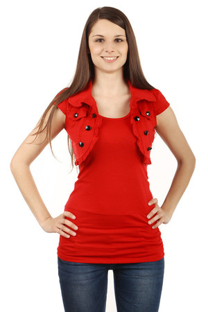Women's bolero with collar and short sleeves. Decorated with black buttons. Little frill around the perimeter. Material: