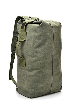 Spacious canvas backpack for 2 in 1 interior space without compartments for maximum use with one inner pocket in three parts