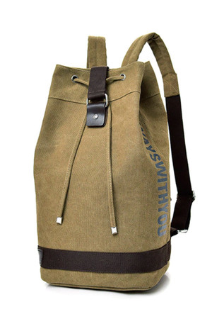 Men's canvas spacious backpack for 2 in 1 travel simple, casual design lined interior space inner zip pocket padded