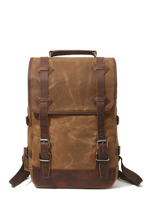 Medium waterproof backpack with leather details the inner lining of the backpack inner padded tablet or notebook compartment