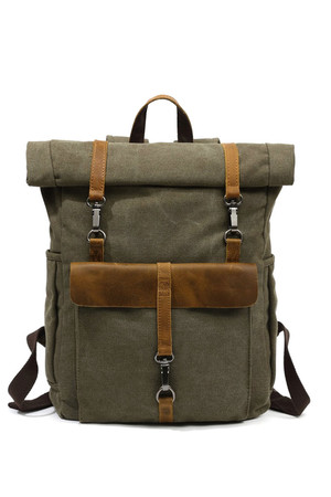 Large waterproof waxed canvas roll-top scroll backpack backpack compartment completely lined padded notebook compartment