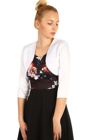 Single colored women's bolero with three-quarter sleeve. It will complement your clothes for a festive occasion, as well