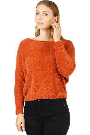 Hairy women's sweater in many colors. shorter waist length boat neckline bat-cut sleeves sewn from a very warm material very