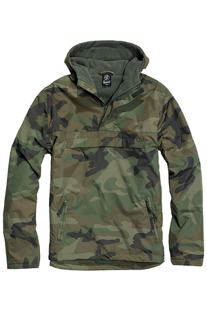 Transitional men's camouflage jacket with fleece lining and hood. High quality from the German company Brandit. It is worn