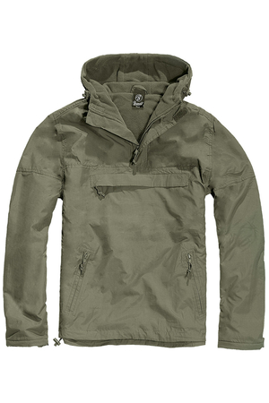 Men's one-color jacket with a hood and fleece lining for a transitional period. High quality from the German company Brandit.
