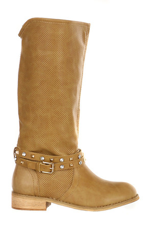 Stylish boots with rivets and rhinestones around the ankle. Material: upper: leatherette, insole: synthetic material