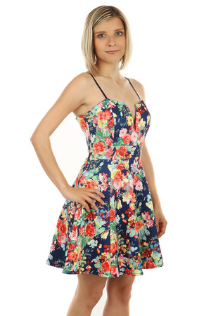 Modern dress with zippered floral back. Adjustable thin straps. The dress has a sophisticated neckline. Import: Italy