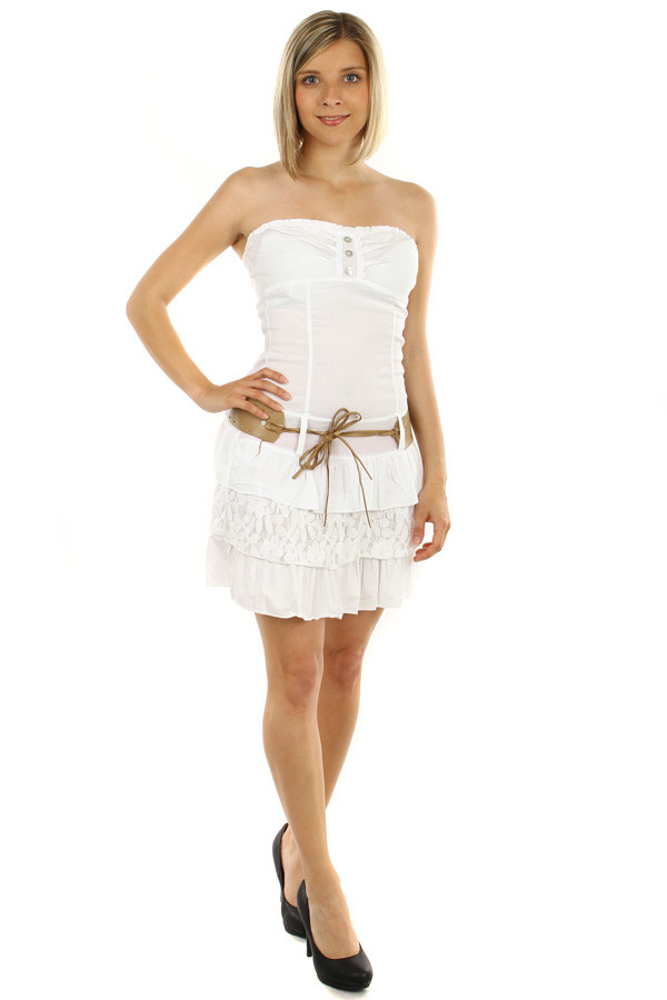 Short White Strapless Dress
