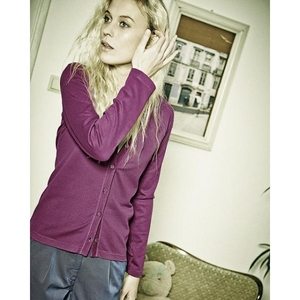 Women's sweater made of natural materials from the collection of the German brand HempAge classic cut one color design button