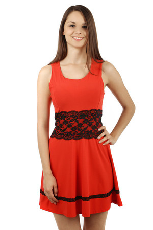 Amazing dress with lace at the waist. Lanyard. At the bottom of the dress is a narrow lace belt. Zip fastening at the back.