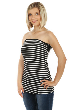Women's fashionable striped elastic sleeveless tank top. Import: Italy Material: 95% viscose, 5% elastane