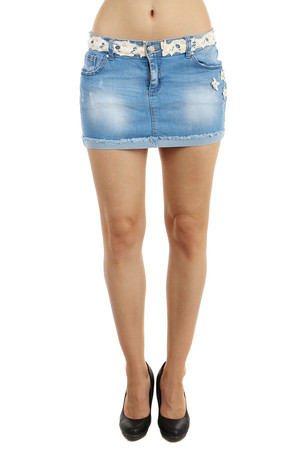 Modern denim skirt with decoration instead of tape. Small flowers on the side. Front and rear pockets. Short mini version,