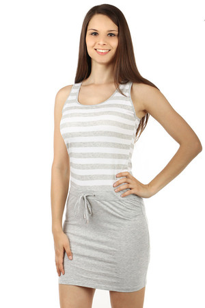 Refined summer striped dress. Drawstring on the waist. Material: 93.2% cotton, 6.8% elastane