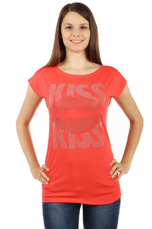 Women's t-shirt rhinestones Kiss