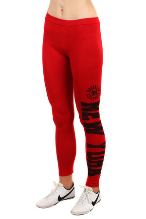 Women's sports leggings with modern print on one leg. Import: Italy Material: 95% cotton, 5% elastane