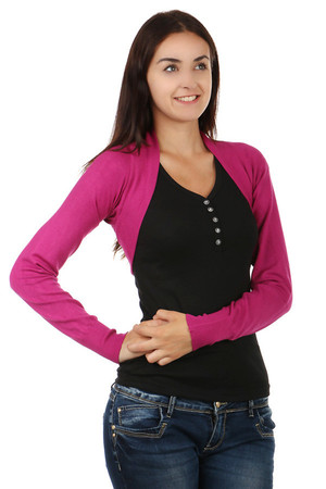 Practical ladies long-sleeved bolero. It fits every outfit. Material: 40% wool, 37% polyamide, 15% cashmere, 8% elastane