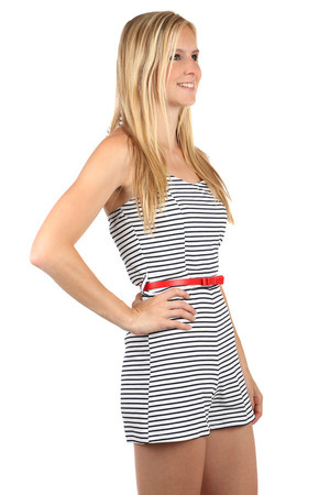 Summer women's jumpsuit with neck binding. Striped pattern. Red belt included. Import: Italy Material: 95% cotton, 5%