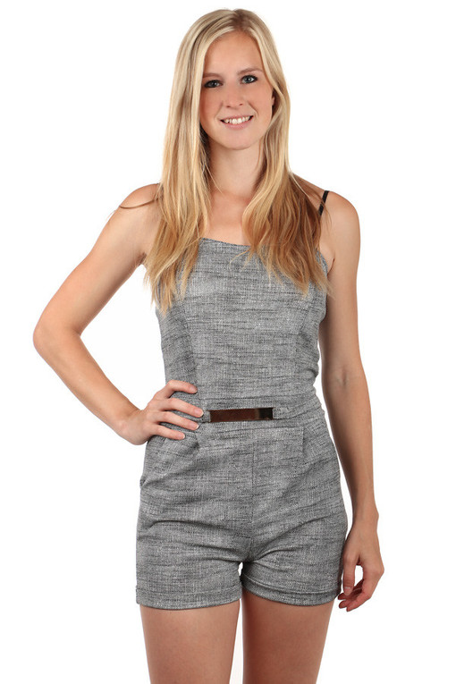 Ladies short overalls with buckle