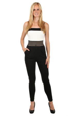 Unusual women's overalls, which has a translucent waist circumference thanks to thin lines. Front pocket. Back zip