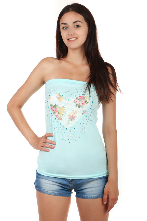 Women's Strapless Cotton Top with Heart