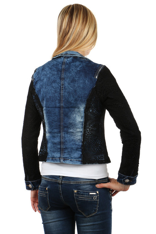 Women's denim jacket with black lace sleeves