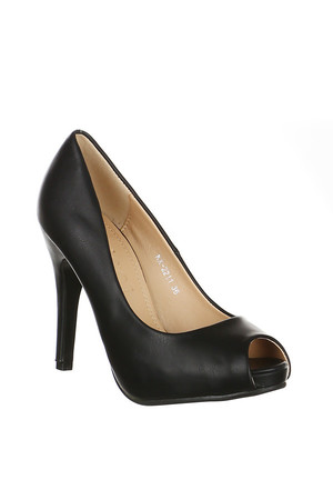 Classic open-end pumps. Material: upper: leatherette, insole: synthetic material.