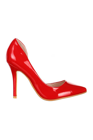 Luxurious glossy pumps with modern open side. Material: synthetic material.