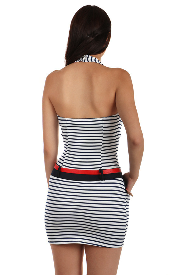Short close-fitting women's dress with stripes