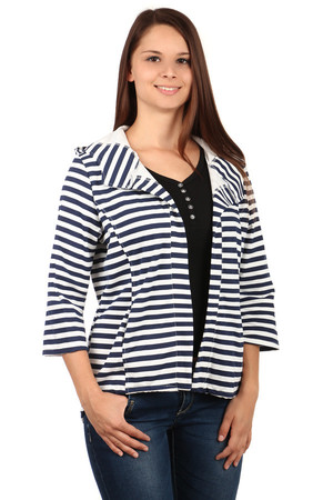 Fashion striped cardigan with hood. Without fastening. A small slit at the back that can be pulled down with a drawstring.