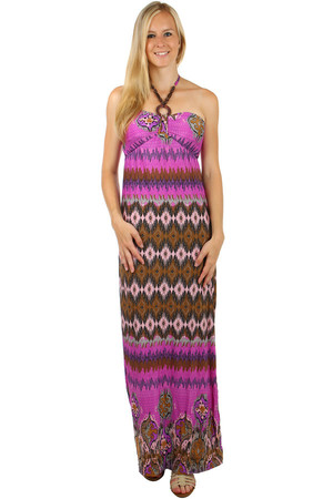 Long patterned dress. Neck ties. Decorative beads on strings. Material: 95% polyester, 5% elastane