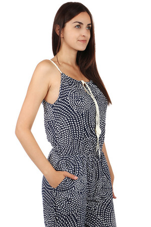 Patterned women's overall, narrow straps. Front pocket. Material: 100% cotton