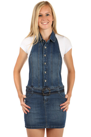 Fashionable jeans dress with belt. Button fastening. Neck Hanger. The backs are revealed. You can wear a T-shirt or