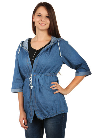 Non-traditional denim cardigan with hood and 3/4 sleeves. Drawstring. 2 pockets at the front. Import: Italy Material: 100%