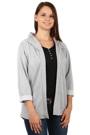 Beautiful cardigan without fastening and hood. On the sides of the pocket. Sleeves can be folded as needed. Import: Italy