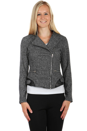 Amazing jacket with asymmetrical fastening. Without pockets. Up to size XXXL. Material: 65% polyester, 35% cotton.