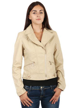 Women's leatherette jacket with asymmetric zipper. Front pockets. On the side patents to download the width of the