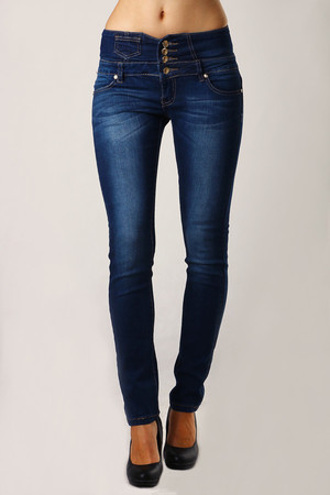 Women's dark blue jeans. Narrow leg cut, imaginatively placed pocket. Material: 98% cotton, 2% elastane.