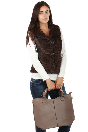 Women's vest with soft fur. Unusual stylish fastening. Also suitable for full-size, available up to size XXXL. Material: 100%