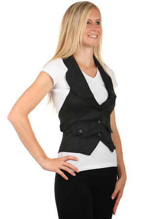 Women's monochrome business vest on buttons. Distinctive flaps in front. Also suitable for full-size, available up to