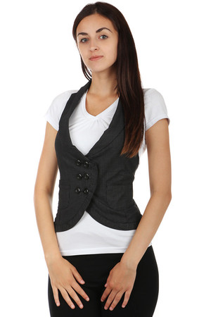 Women's striped vest with pockets. Button fastening. Material: 65% cotton, 35% polyester