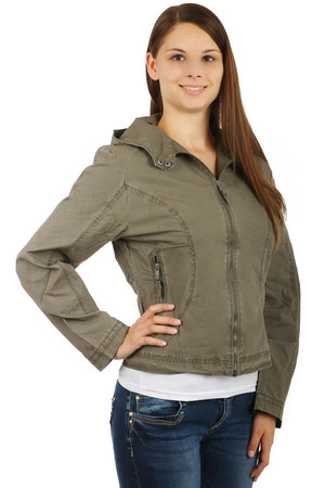 Comfortable women's loose-fitting hooded jacket that allows patents to be fastened to the neck. Zipped front pockets.